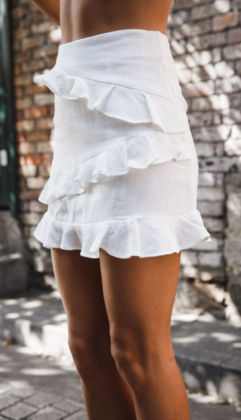 White Frill Mini Bodycon Skirt