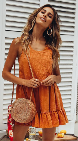 Orange Sleeveless Pleated Shift Dress