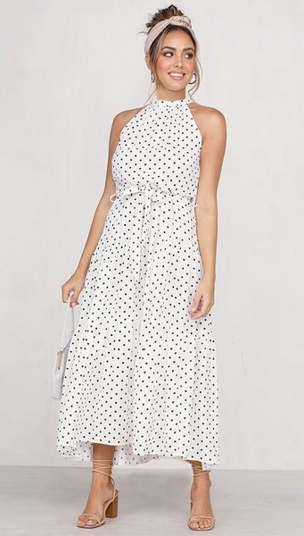 White Polka Dot Halter Midi Dress