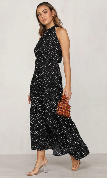 Black Polka Dot Halter Midi Dress