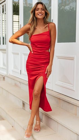 Red Bodycon Backless Slip Dress