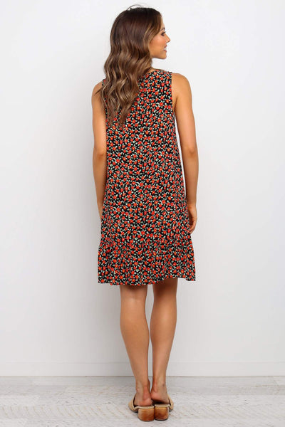 Black Garden Floral Button Down Dress