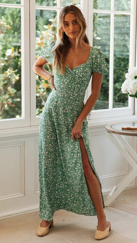 Green Floral High Slit Dress