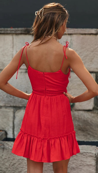Red Knot Pleated Slip Dress