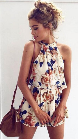 Beige Floral Crop Top and Shorts Matching Sets
