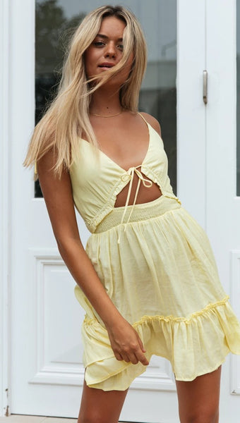 Yellow Knot Pleated Slip Dress