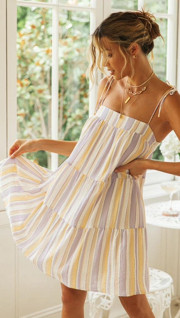 Pastel Striped Slip-On Dress