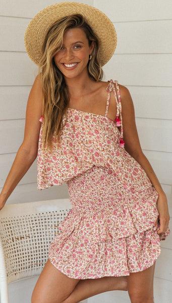 Peach Floral Tank and Skirt Matching Sets