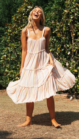 Pink Rainbow Striped Slip Dress