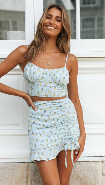 Blue Floral Crop Top and Skirt Matching Sets