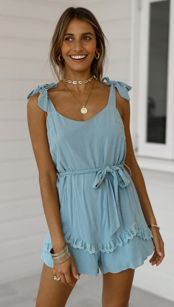 Baby Blue Shoulder-Knot Rompers