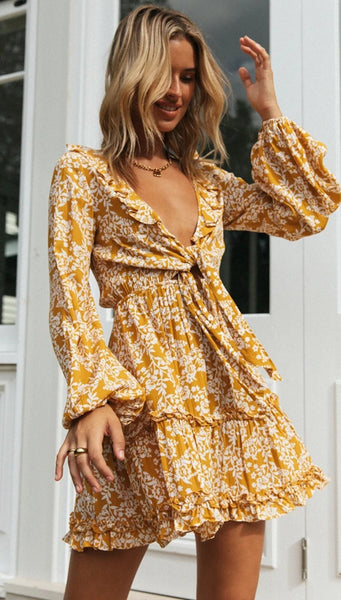 Yellow Floral Front Knot Dress