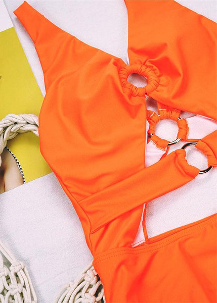 Orange O-Ring Cut Out One Piece Swimsuit