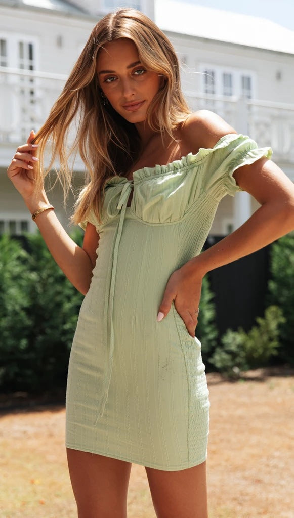 Solid Green Off Shoulder Mini Dress