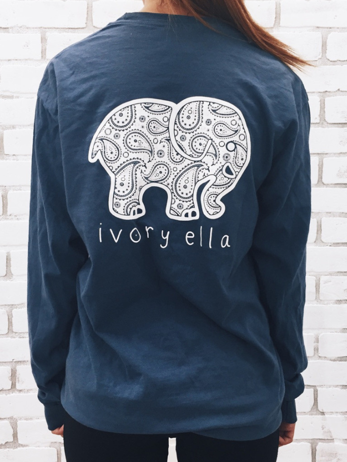 Navy Elephant Print Long Sleeve Shirt