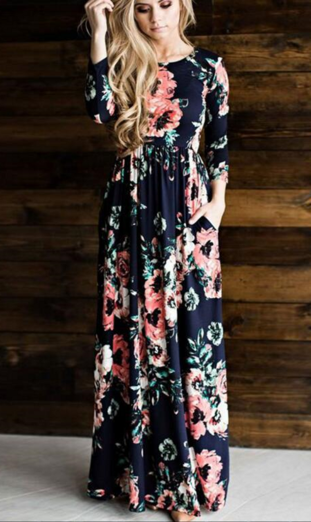 Navy Floral Long Sleeve Maxi Dress