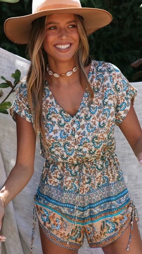 Boho Turquoise Floral Rompers