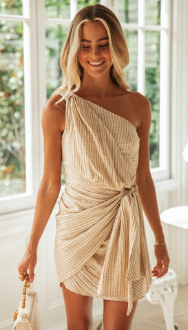 Plaid Knot One-Shoulder Dress