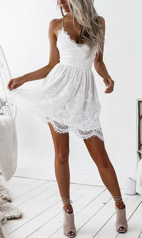White V Neck Lace Up Back Scallop Hem Lace Cami Dress
