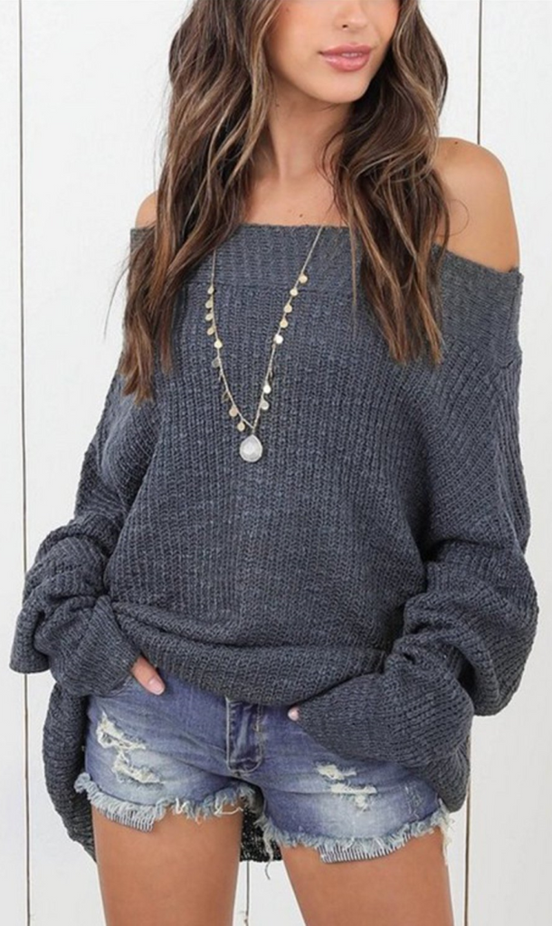Gray Off Shoulder Long Sleeve Sweater
