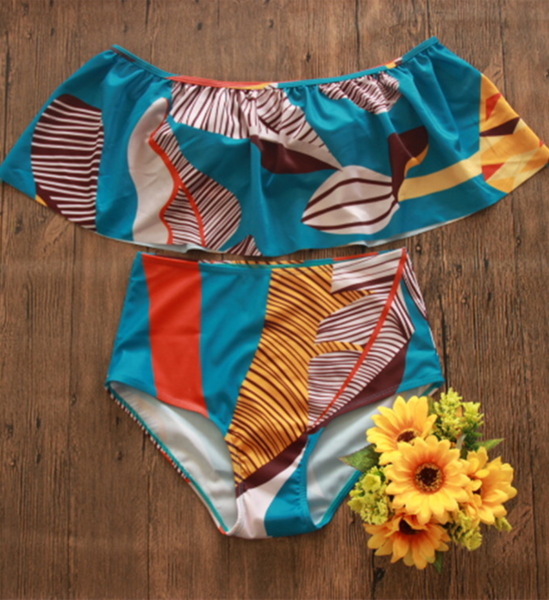 Teal Tribal Off-the-shoulder Bikini Sets