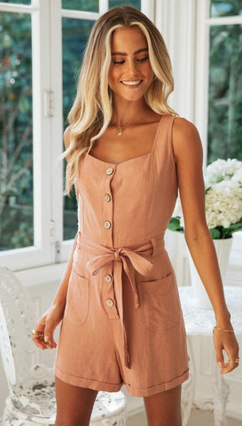 Orange Button-Down Waist Tie Rompers