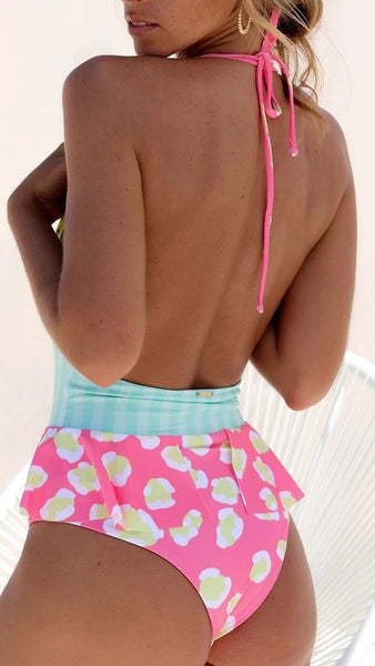 Yellow Pink Floral Halter Swimsuit
