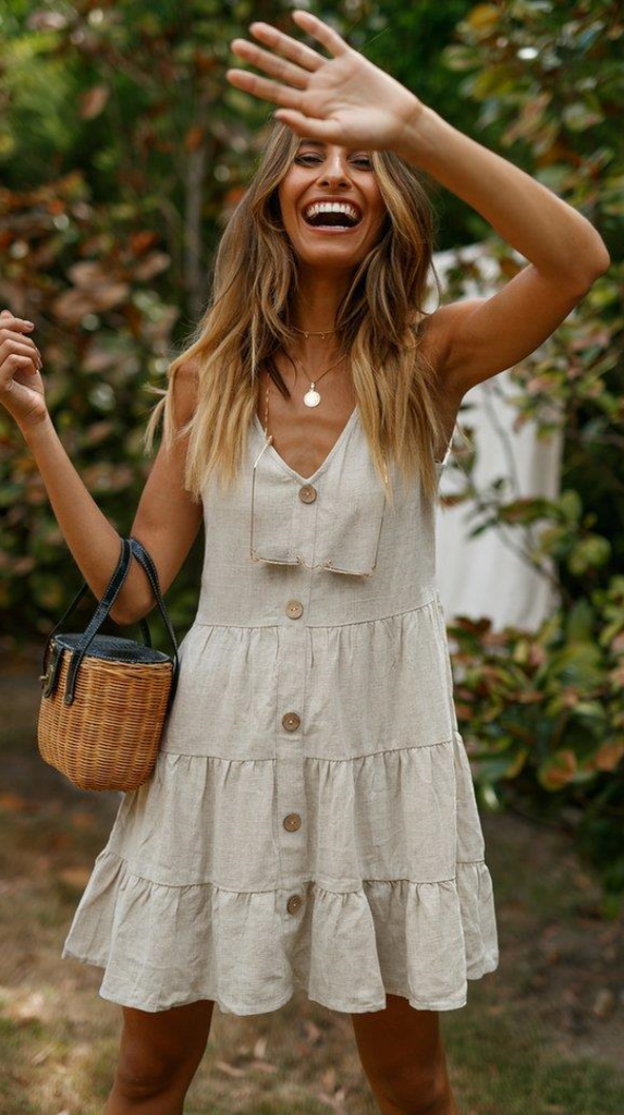 Beige Button Down Linen Dress