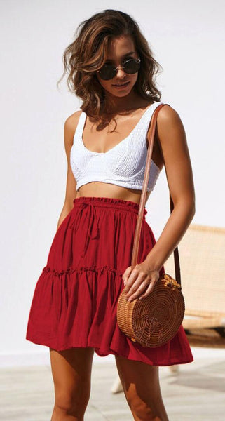 Red Withdraw Pleated Mini Skirt