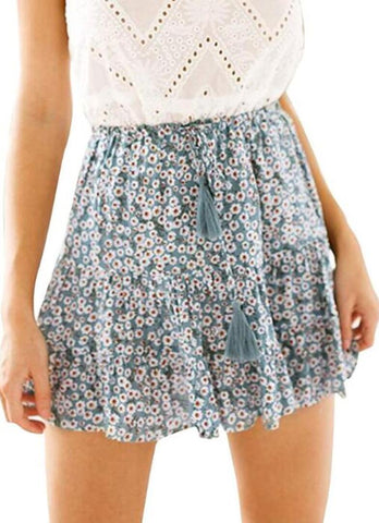 Green Floral Tassel Withdraw Mini Skirt