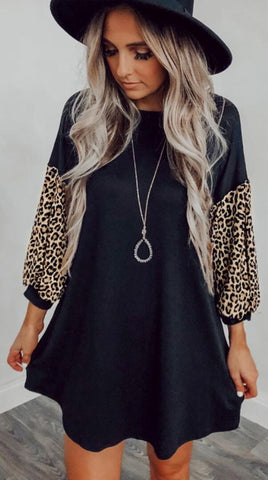 Black Leopard Sleeves Trapeze Dress