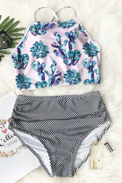 Cute Succulent Plants Floral Bikini Set