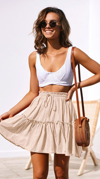 Beige Withdraw Pleated Mini Skirt