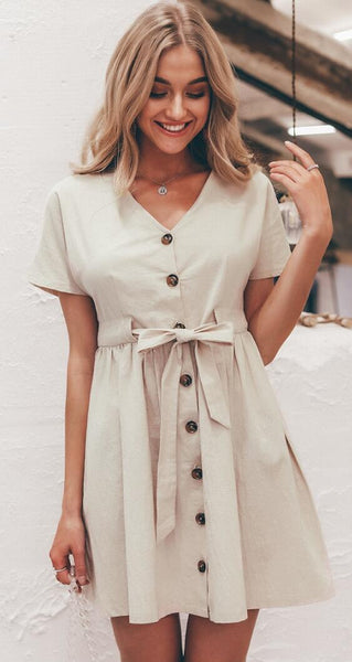 Beige Bowtie Button Down Dress