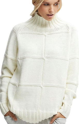 Solid Checkered Knit High Neck Sweater