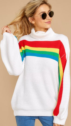 White Bold Rainbow Stripe Turtleneck Sweater