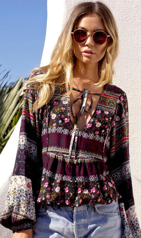Coffee Tribal Pattern Neck-Tie Blouse