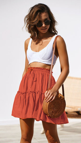 Orange Red Withdraw Pleated Mini Skirt