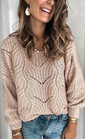 Light Khaki Crochet Knit Sweater