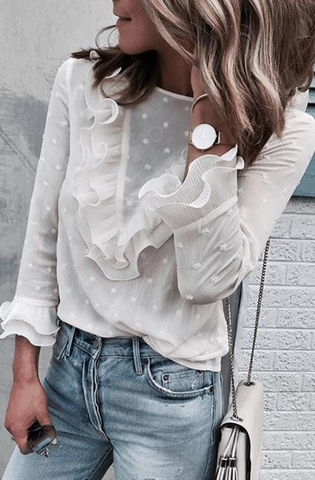 White Ruffled Lace Top