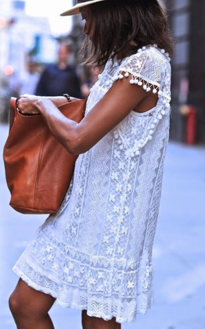 Lovely White Crochet Lace Shift Dress