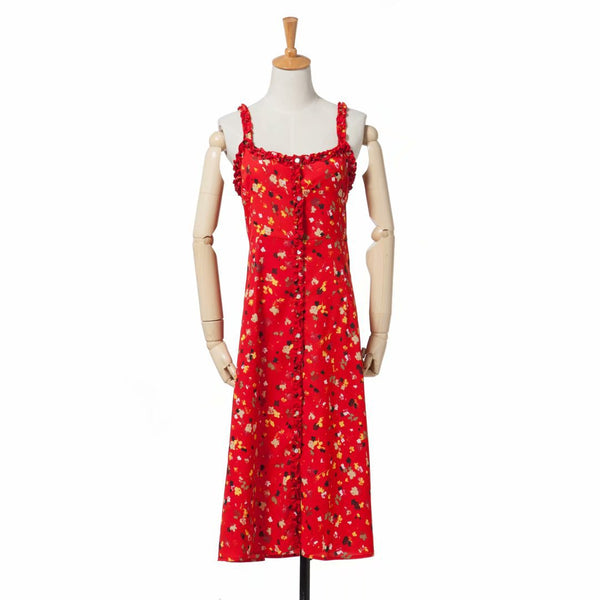 Red Floral Button Down Long Dress