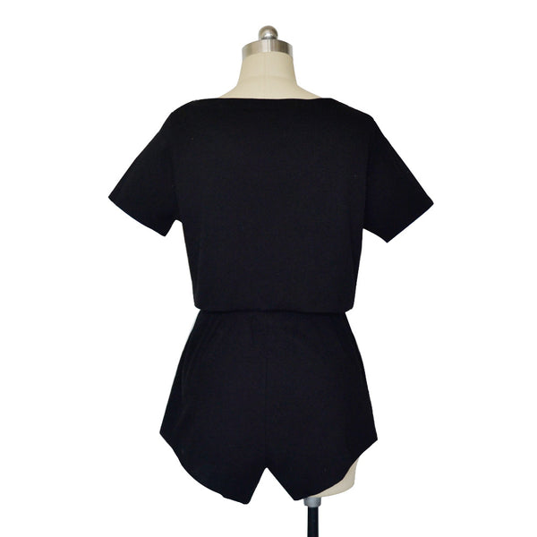 Solid Black Knit Crop Top and Shorts Matching Sets