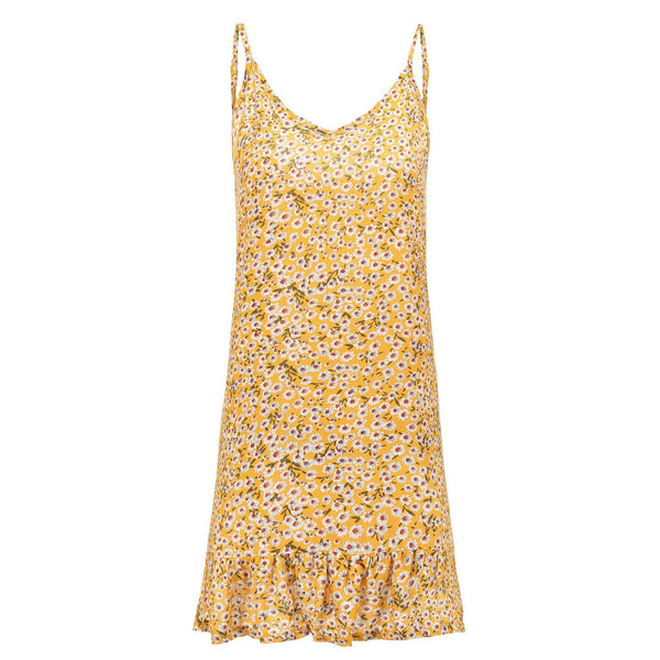 Yellow Floral V Neck Cami Dress