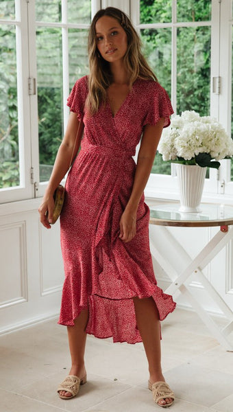 Red Floral Waist-Tie Surplice Hi-Lo Dress