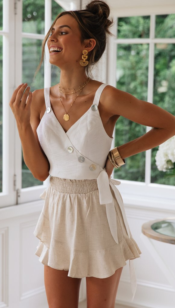 White Studded Bowtie Crop Top