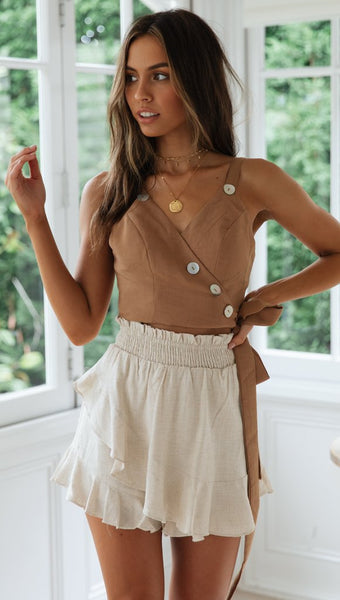 Coffee Studded Bowtie Crop Top