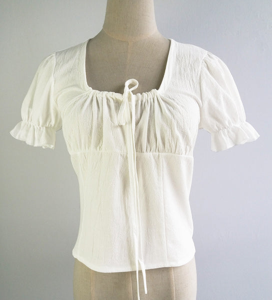 White TIe-Neck Linen Crop Top