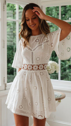 White Crochet Waist Flare Dress