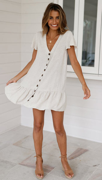 Beige Button Down Shift Linen Dress